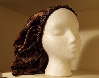 Black or Brown Flowered Charmeuse Satin Bonnet