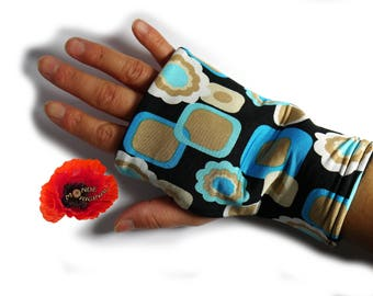 Blue fingerless gloves black lycra Jersey and fleece