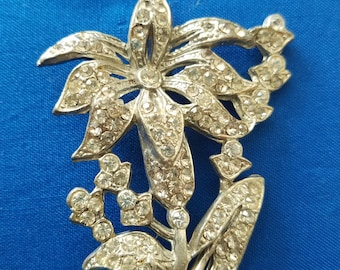 Large Rhinestone Flower Brooch