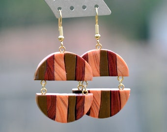 Bronze, Golden, Taupe Separated Circle Earrings