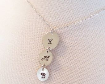 Three Initials Necklace, Personalized Mother's Necklace, Hand Stamped Necklace, Three Letters Necklace, Monogram Mother's Jewelry Initials
