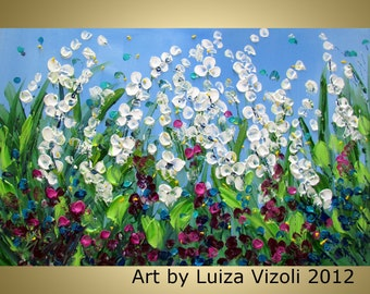 Original Modern Floral Painting SUMMER FLOWERS FIELD Palette Knife Impasto Wall Art, see how is made