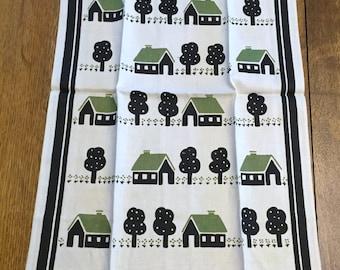 Unused Vintage Linen Towel, Printed Kitchen Dish Tea, Green White Black Cottages Houses Trees,