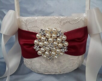 Ivory Flower Girl Basket Dark Red Flower Girl Basket Pearl Rhinestone Accent Wedding Basket Unique