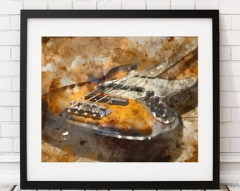 Guitar Art, Guitar Print, Watercolor Painting, Poster, Rock & Roll Art, Music Room Decor, Guitar Player, Musician Gift, Gifts for Musicians