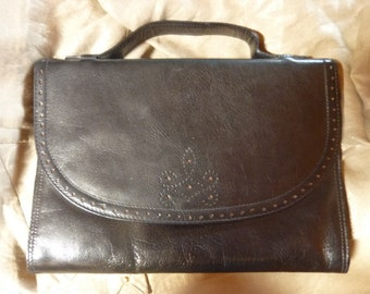 BAILLY black leather purse * 28/20 cm * style Briefcase - vintage
