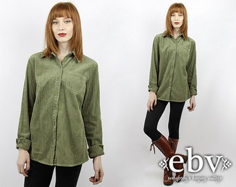 Vintage 90s Olive Cord Button Up Shirt S M Cord Button Down Shirt Green Shirt Corduroy Shirt