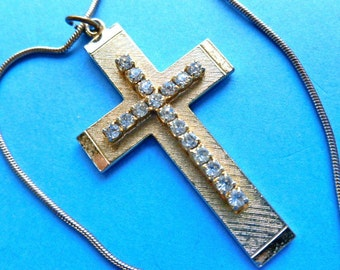 30% SALE: CROSS on CROSS, Goldtone Rhinestone Cross, Vintage Cross Necklace, 1980s Cross Necklace, Gold Cross, Two in One Cross