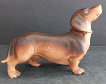 Vintage Dachshund Dog With Collar Figurine Doxie Weiner Dog Figurine