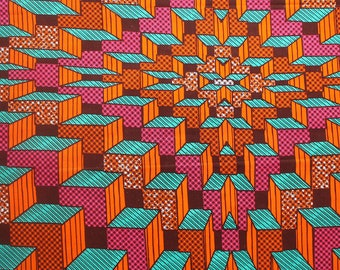 Ankara Fabric, Wax print fabric, Pink and Orange Cityscape, 6 yards, 5.5 metres, Colourful African Fabric, Modern African print fabric
