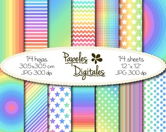 "Pastel Rainbow Digital Papers - Colorful Pastels Digital Backgrounds / Printable Paper in Brights - 14x Instant Download 12""x12"" JPG 300dpi"