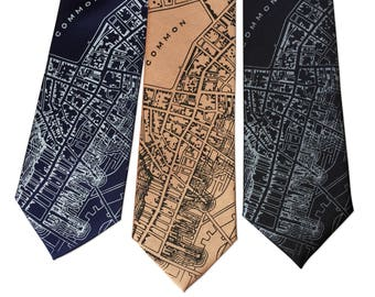 Boston Map Printed Silk Necktie. 1814 vintage map print men's silkscreen tie. Boston gift, Boston wedding, Beantown neck tie.