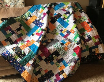 Outer Space Quilt/ HANDMADE /twin size bed quilt / throw quilt / patchwork quilt