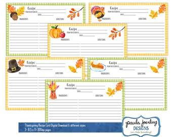 Printable Thanksgiving Recipe Cards, Thanksgiving Watercolor 4 x 6 Recipe Card, Thanksgiving, Thanksgiving Digital Download, Hostess Gift