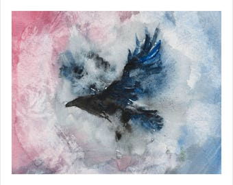 "Raven Bird Watercolor Painting - Fantasy - Print 8""x10"""