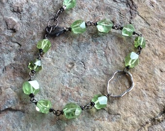 PERIDOT Bracelet, Raw faceted nugget bracelet, lime green gemstone with sterling silver, August birthstone, handmade by Angry Hair Jewelry