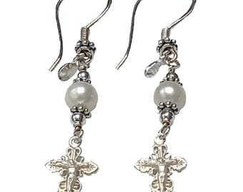 Sterling Silver Crucifix Earrings Freshwater-Cultured Pearl - New Model #2