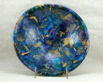 Decorative Bowl in Blue, Black & Gold OOAK, Boho, Hygge Decor, Mixed Media Art Assemblage, Handmade, Handcrafted Unique Home Decor, Gift