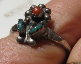 Petite Zuni Southwestern Silver Ring with Turqoise and Coral Flower, Size 5, Pinky or Midi Ring