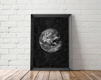 Earth Printable Art, Planet Wall Art, Planet Earth Poster, Earth Print, Planet Printable, Earth Wall Art