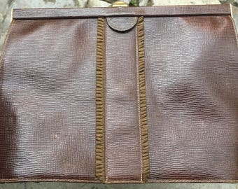 Vintage anni ' 60 brown leather clutch bag