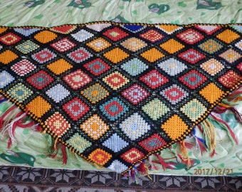 Hand-knit Scarf, Vintage, Handmade