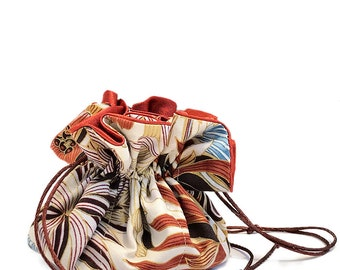 Draw String Jewelry Travel Pouch Bag Tote - Asian Floral Pattern on Beige Cotton and Rust Satin Inside