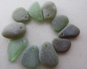 Drilled Beach Sea Glass - Green Beach Glass Genuine - Sea Glass Bulk - Seaglass Lot