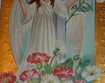 Angel With Dove and Easter Lily Antique Pstcard