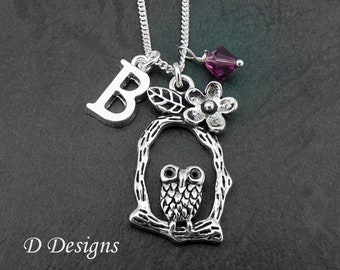 Owl Necklace, Sterling Silver Owl Pendent, Personalised Bird Necklace, Owl Jewellery,  gifts for Owl Lovers