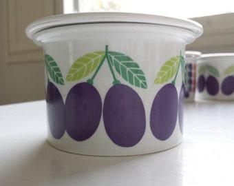 SALE 17% - Mint Pomona Plum jam jar with a lid from Arabia Finland 1970, designed by Raija Uosikkinen