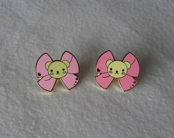 "Kawaii Lolita Teddy Bear Pink Bow Hard Enamel Pin Pastel 1"" 2.5cm"