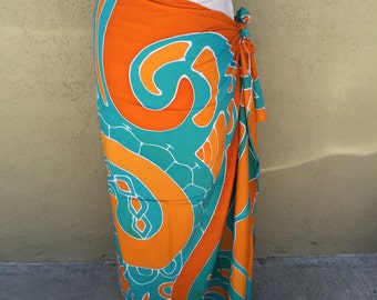 Maori, New Zealand, dance fabric, pareo, costume, orange and turquoise print, rayon, fringeless, full sized, half sized, child size