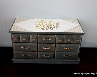 Large jewelry box chalk painted gray decoupaged gold // hand painted jewel box // Anything is Possible