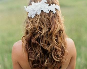 Beaded Lace Bridal Headpiece. Beaded Wedding Headpiece.