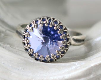 French Lavender   Silver Princess Ring   Swarovski   Adjustable Antique Silver Ring   Victorian Crown   Bridesmaid Jewelry   Gift For Her