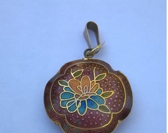 Cloisonne  Floral Pendant - Brick Red, Green, Blue, Gold, Amber, Red Colors - Flower & Tiny Butterfly Design -  1 Inch Diameter Pendant