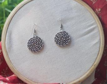 Spiral Dangle Earrings. White Brass Earrings. Tribal Earrings.