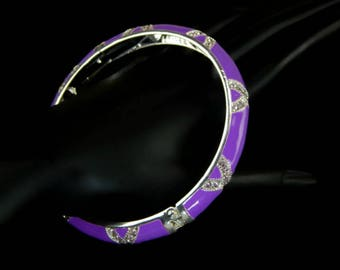 Lavender Enamel Hinged Bangle Bracelet with Rhinestones Large