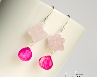 Fuchsia pink chalcedony earrings with stones, fuchsia pink chalcedony and rose quartz gemstones, sterling silver, faceted teardrops