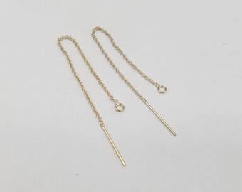 14k Gold Filled Threaders with 3mm Open Ring, 3 Inches Long, 1 Pairs, USA