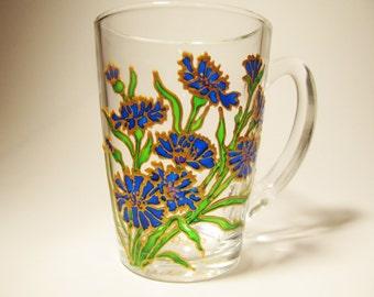 Flower Mug Cornflower Blue Tea Cup Rustic Mug Glass Mug Floral Mug Painted Glass Mug Glass Tea Mug Glass Coffee Mug Painted Cup Blue Floral