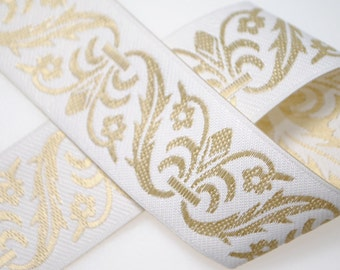 Fleurs and Scrolls Jacquard Ribbon 30mm wide - 3 or 5 Yards