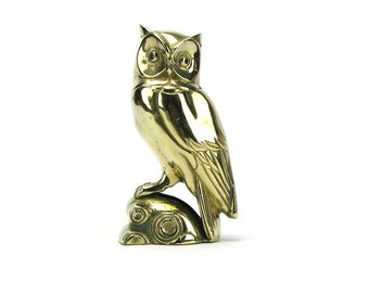 Vintage Brass Owl or Falcon Figurine - Mid Century Hollywood Regency - Woodlands Gold Owl Bookend -  Wedding Nursery Decor Mother's Day Gift
