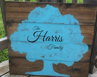 Family Tree Sign - Family Reunion - Large Wooden Tree Decor - Rustic Tree Sign - Wall Decor - Painted Wood - Country Home - Family Sign