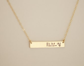 gold bar necklace, date necklace, anniversary necklace, wedding date, birthday necklace, mothers necklace, dainty necklace, gold bar, N55