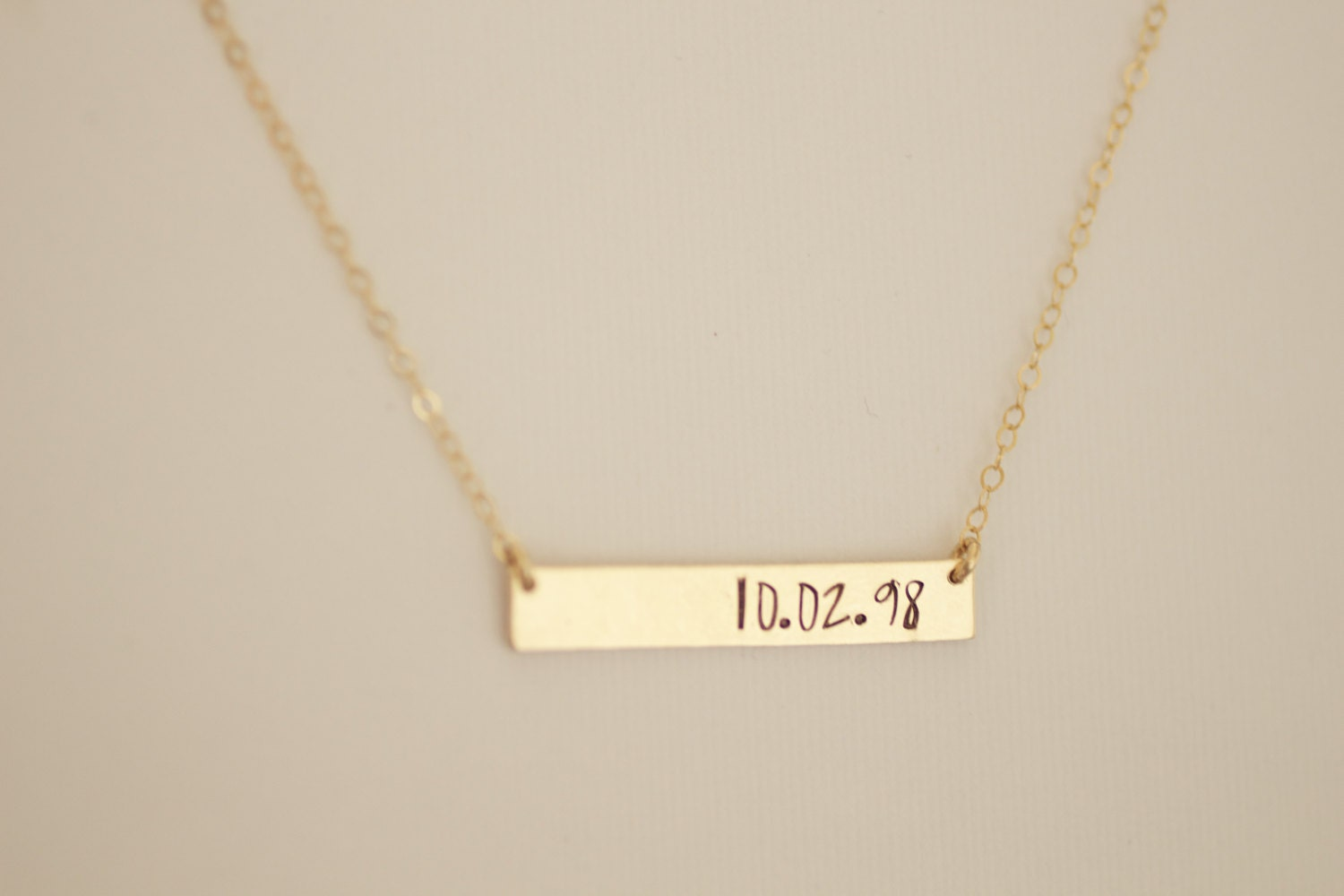 date hand wedding bridal necklace product kandsimpressions anniversary initial silver stamped