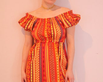 60s 70s Folk Peasant Mini Dress