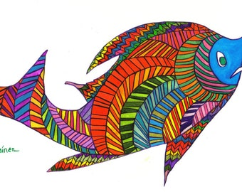 Fish, Fish Art, Whimsical Fish, Whimsical Fish Art, Herringbone Fish, Fish Print, Harry Herringbone Fish Print