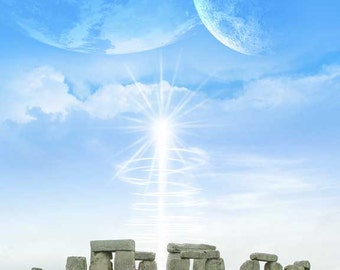 Skyfall at Stonehenge - surreal image of earth like planet and moon over stonhenge with starburst